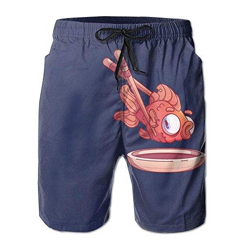HOOTDYA Men'sClip Goldfish with Chopsticks Cute Fish Comfortable Cotton Swimming Short Boardshort Beach Pants M Cotton Beach Pants