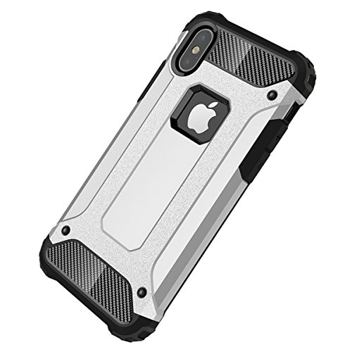 iPhone X Hülle, HICASER Hybrid Dual Layer Rugged Heavy Duty Defender Case [Shock Proof] Drop Resistance TPU +PC Handytasche Schutzhülle für iPhone X Gold Silber