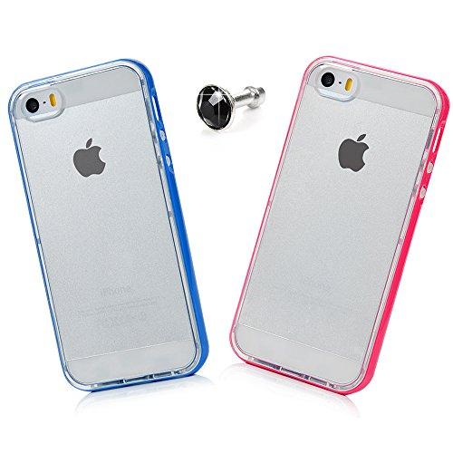 Custodia iPhone 5 Silicone TPU Trasparente + PC Frontera Fit Verniciata, Badalink Cover inserito all'interno dipinti Color Modello + tappo disegno della polvere