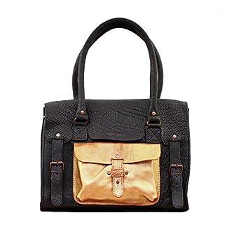 519ARmTppuL. SS324  - LE RIVE GAUCHE M Negro / Dorado bolso de mano de cuero de estilo vintage PAUL MARIUS
