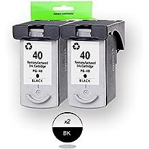 DOREE 2 x PG 40 Cartucho de Tinta Compatible para Canon PIXMA MP150 / 160/170/180/450/460 CANON PIXMA IP1180 / 1200/1300/1600/1700/1800/1880/2200, Negro
