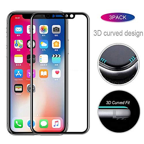 QINPIN 3 Pack Full Cover Tempered Glass Screen Protector for iPhone XS/XS max/XR
