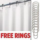mDesign Polyester Duschvorhang – wasserdichter Duschvorhang inkl. 12 Ringe – extra langer Vorhang für Dusche und Badewanne – 100 % Polyester – weiß