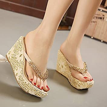 LGK&FA Flip Flops Heeled Shoes Girls Beach Shoes Lace Embroidered ...