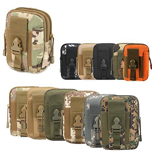 ZhaoCo Taktische Hüfttaschen, Nylon Militär Kompakt MOLLE EDC Handytasche Gürteltasche Beutel für Gadget-Dienstprogramm Camping Wandern Reise - Tarnung 01