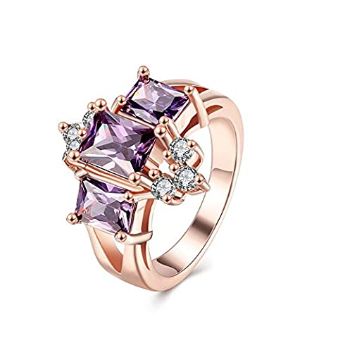 Thumby Gold Plated Rose Gold Plated 7.5g Classic Zircon Crown Ring for Women,lila,8
