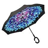 ABCCANOPY Parapluie inversé, double couche, inversé, coupe-vent, pour une utilisation en extérieur et pour la voiture, UPF 50 + grande tige avec poignée en forme de C
