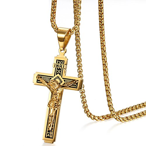 Cupimatch Kreuz Halskette Herren Jesus Kruzifix Kette mit Anhänger Edelstahl Hals Schmuck für Männer Jungen 56cm, Gold
