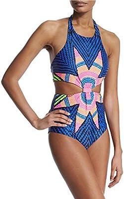 DELEY Mujeres Una Pieza Estilo Étnico Hoja Arce Estampado Halterneck Bikini Trajes De Baño Ropa De Playa
