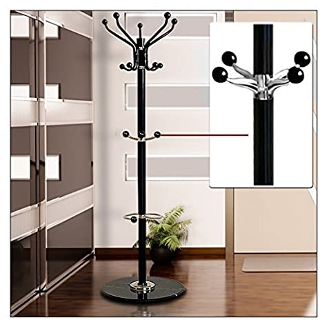 Coat Hat Umbrella Stand Hallway Clothes Hook Marble Base Metal Storage Rack Holder Steel Black 1,7m by Global Mall Direct