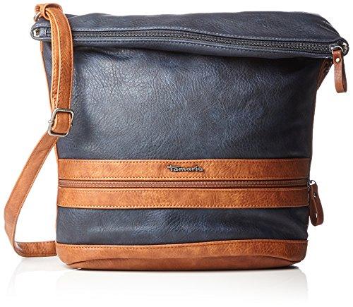 Tamaris Damen Smirne Hobo Bag Schultertasche, Blau (Navy Comb.), 28x15x28 cm (Clutch Hobo Bag Leder Handtasche)