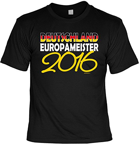 EM SET - T-Shirt mit schwarzer Kappe: Deutschland Europameister 2016 - Für alle Fußballfans zur Europameisterschaft Schwarz