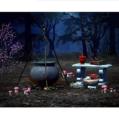 Waofe Rahmen Halloween Diy Malen Nach Zahlen Kit Moderne Wandkunst Bild Kalligraphie Für Wohnkultur 40X50 Cm Kunst