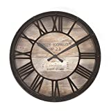 Vintage style wall clock - Diameter 39cm - Colour: Brown and aged copper look (Kitchen & Home)