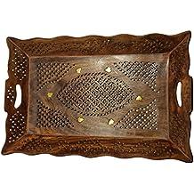 Regalo para la Navidad o de cumpleaños de sus seres queridos Madera hecho a mano 15 X 10 pulgadas Bandeja - Bandeja de madera que actúa con Latón Aguafuertes diseño único