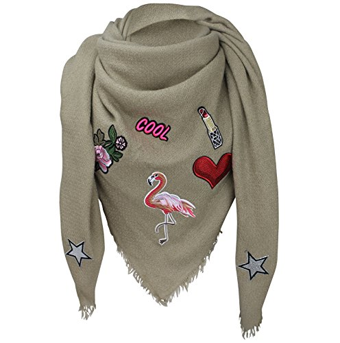 XXL PATCHES STICKER Flamingo Damen Karo Schal Tuch Karoschal Halstuch Fashion Plaid Loop Beige (Tartan Patch)