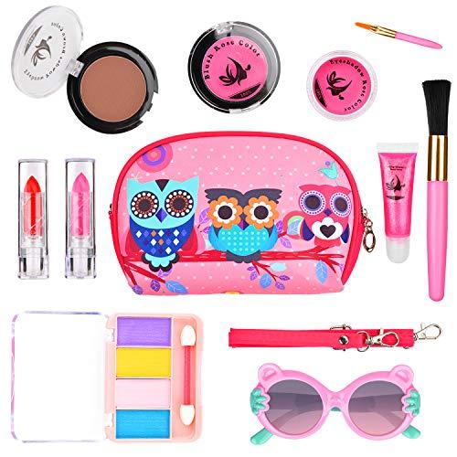 WloveTravel Kinderschminke Set, Kinder Waschbar Make-up Set für Mädchen, Lernspielzeug für zu Hause Große Geschenke für das Alter 6 7 8 9 10+ Jahre Gilrs - Alten Make-up