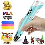 Ceepko 3D Drucker Stift DIY Scribbler 3D Stereoscopic Printing Pen mit LCD- 3D Filament - insgesamt 185 ft    kreatives Geschenk für Kinder Anfänger Erwachsene Zeichnung 3D Stifte (4 Farbe) (Blau)