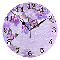funnyy Floral Flower Butterfly Round Acrylic Wall Clock, Silent Non Ticking Art Painting Clock for kids Girls Children Bedroom Living Room School Home Decor