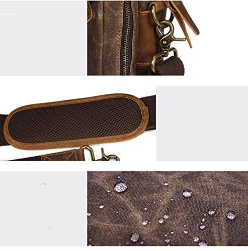 Männer Wesentliche Upmarket Retro Große Kapazitäts-Öl-Wachs Leinwand Handcarry Tasche Geschäft Schulranzen Multicolor Grey