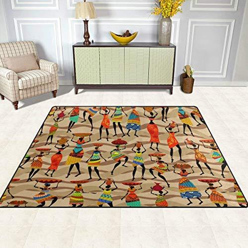 Guoey tappeti tappeto di feltro 4'x5', le donne africane etnici tribali chevron antiscivolo in poliestere soggiorno sala da pranzo camera da letto ingresso tappeto tappetino home decor