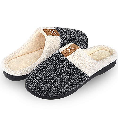 Inverno pantofole comode da donna uomo cotone peluche interno scarpe di casa antiscivolo morbido caldo memoria schiuma pantofole per autunno invernali(grigio,38/39 eu)