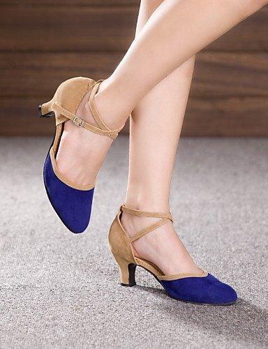 ShangYi Chaussures de danse ( Autre ) - Non Personnalisables - Talon Cubain - Cuir / Cuir Verni - Latine / Jazz Camel