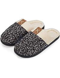 5ba0cb57ebad welltree Herren Hausschuhe Soft Memory Foam Plüsch Haus Schuhe Warme Winter  Hausschuhe Anti-Slip Leichtgewichtler