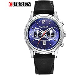 CURREN Business Men's Calendar Waterproof Blue Dial Genuine Rubber Strap Wrist Watch 8066G