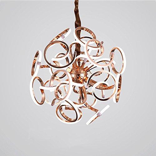 Hines LED Post Modern Luxus Kunst sphärischen Designer Villa Hotel Wohnzimmer Restaurant Küche Deckenleuchte Designer Lampe Deckenlampe Schlafzimmer (Color : 18 Head 52CM Rose Gold) -