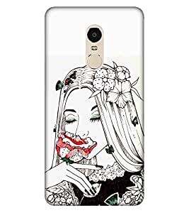 For Xiaomi Redmi Note 4 beautiful cartoon ( beautiful cartoon, cartoon, white background, girl, flower ) Printed Designer Back Case Cover By CHAPLOOS