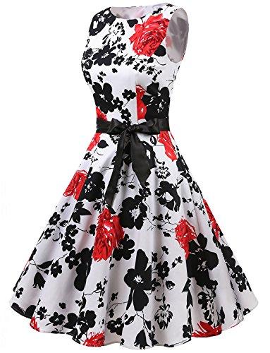 Gardenwed Damen Vintage 1950er PartyKleid Rockabilly Ärmellos Retro CocktailKleid White Red Flower