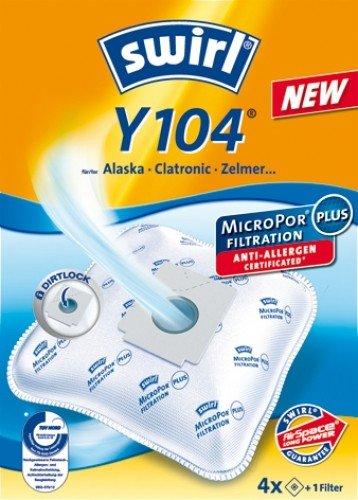Swirl Y 104 MicroPor Staubsaugerbeutel für Bomann Staubsauger, 5 Beutel + 1 Filter