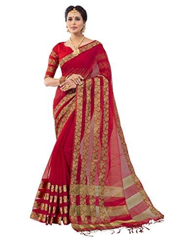 Pisara Women's Banarasi Cotton Silk Saree For Party Wear With Blouse Piece,Red