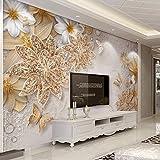 Wandtapete 3D Luxus gold Ornament Blume Schmetterling Hintergrund Tapete Wohnkultur Wohnzimmer