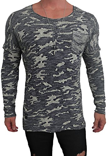 Oversize Camouflage meliert Langarm Shirt Deep Longshirt Long sommer Herren Sweatshirt NEU sweater hip hop Sweat Jacke Pullover langes Longsleeve m Kapuzenpullover langarm long jeans Sweatjacke Pulli Camouflage - dunkel