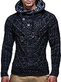 LEIF NELSON Herren-Strickpullover |Strick-Pulli mit Kapuze | Moderner Woll-Pullover Langarm Sweatshirt mit Knöpfen Kleidung Männer