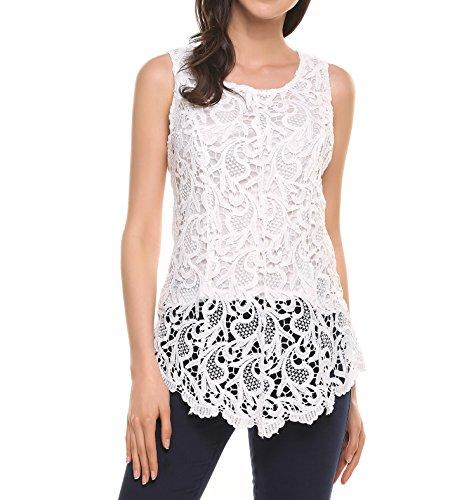Zeagoo Damen Sommer Elegant Floral Spitze Oberteil Chiffon Trägertop mit Rundhals Ausschnitt Ärmellos Shirt Tanktop Tunika Bluse Weiß
