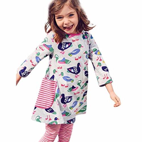 t Kid Cartoon Mandarin Ente Print Pocket Kleid Outfit Kleidung Sport Kleider, Kinder, grau (Halloween-foto-buntes Ideen)