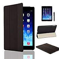 MOFREDŽ Ultra Slim New Apple iPad Pro (Launched 2015) Leather Case Cover, Full Protection Smart Cover for iPad Air 2 iPad 6th Generation With Magnetic Auto Wake & Sleep Function + Screen Protector + Stylus Pen (iPad Air, Black)