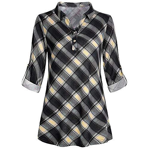 iYmitz Damen Solide Langarm Knopf Bluse Pullover Tops Shirt Mit ()