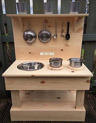 Image of Wooden Mud Kitchen, Outdoor Kitchen, Play Kitchen, Toy Kitchen, Garden Kitchen, Sensory Toys
