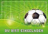 15-er Set Fussball-Einladungskarten (Nr. 10687) zum Kindergeburtstag oder zur Fußball-Party / Sportfest - Die Einladungen zum Geburtstag sind für Mädchen und Jungen geeignet