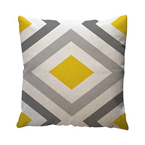 OYSOHE Baumwolle Leinen Kissenbezug Gelbe Geometrische Muster Dekokissen Fall Kissenbezug (B,Einheitsgröße