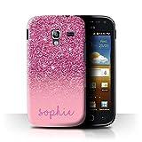 Stuff4® Personalisiert Individuell Glitter Effekt Hülle für Samsung Galaxy Ace 2/I8160/Rosa Design/Initiale/Name/Text Schutzhülle/Case/Etui