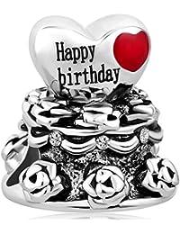 Korliya Happy Birthday Cake Charm Perle Cœur pour Bracelet