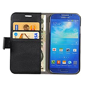Turtle Flip Wallet Case For Samsung Galaxy S4 i9500 With Magnetic Closure - Black