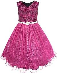 Mädchen Kleid Blume Mädchen Kleiden Funkelnd Perle Gürtel Garnele Rosa Hochzeit Brautjungfer Gr. 92-158