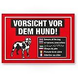 Vorsicht vor dem Hund Kunststoff Schild mehrsprachig (rot), Hinweisschild wetterfest, Hundeschild das Gartentor, Einfahrtstor/die Haustür, Türschild Abschreckung, Warnschild Einbruchschutz
