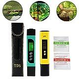 Testeur TDS+EC+Thermomètre 3en1 et pH mètre avec fonction d'étalonnage automatique, précision Moniteur de qualité d'eau Stylo stylo portable pour eau potable, hydroponique, jardinage, aquariums, piscines et spas